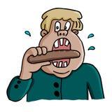 Vektorillustration av en fet man som äter korven Arkivbild