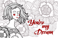 Vektorillustration av en flicka med blommor och sidor och text vektor illustrationer