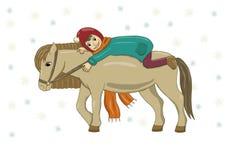 Vektorillustration av en flicka på en häst i vinterkläder I hatt överrock, halsduk, kängor, byxa god mood snowflakes stock illustrationer
