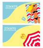 Vektorillustration av en flicka på stranden, hav, slags solskydd Arkivbilder