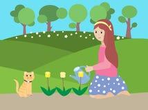 Vektorillustration av en flicka som bevattnar blomman royaltyfri illustrationer