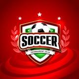 Vektorillustration av en fotbollkopp 2018 design av en stilfull röd bakgrund för fotbollmästerskapet Arkivfoton
