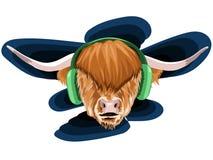 Vektorillustration av en framsida av en tjur med polina och mycket långt hår och fluffig brunt med två stora horn i denna musik m stock illustrationer