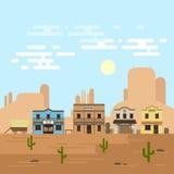 Vektorillustration av en gammal västra stad i en dag stock illustrationer