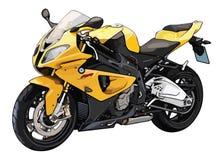 Vektorillustration av en gul superbikemotorcykel vektor illustrationer
