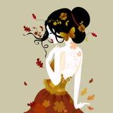 Vektorillustration av en gullig kvinna i höstklänning royaltyfri illustrationer