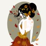 Vektorillustration av en gullig kvinna i höstklänning stock illustrationer