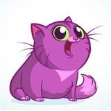 Vektorillustration av en gullig le purpurfärgad fet katt Randig katttecknad film för fett royaltyfri fotografi