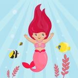 Vektorillustration av en gullig sjöjungfru I vektor illustrationer