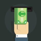 Vektorillustration av en hand för man s och en packe av pengar framme av ATMEN Arkivfoto