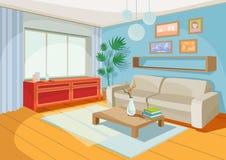 Vektorillustration av en hemtrevlig tecknad filminre av ett hemrum, en vardagsrum arkivbild