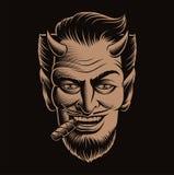 Vektorillustration av en jäkelframsida som röker en cigarr royaltyfri illustrationer