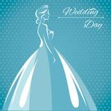 Vektorillustration av en kontur av en brud i dres för ett bröllop royaltyfri illustrationer