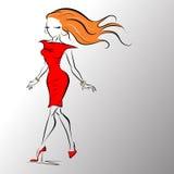 Vektorillustration av en kvinna med långt hår vektor illustrationer