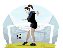 Vektorillustration av en kvinnafotbollsspelare royaltyfri illustrationer