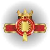 Vektorillustration av en logo av en guld- krona royaltyfri illustrationer