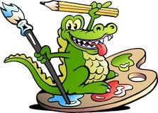 Vektorillustration av en lycklig idérik konstnär Crocodile Arkivbild