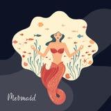 Vektorillustration av en meditera sjöjungfru med flödande hår som är längst ner av havet vektor illustrationer