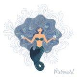 Vektorillustration av en meditera sjöjungfru med flödande hår som är längst ner av havet med skal i hennes händer stock illustrationer
