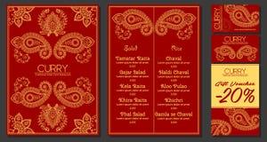 Vektorillustration av en meny för en indisk orientalisk kokkonst för restaurang eller för kafé, affärskort och kuponger Hand-drag royaltyfri fotografi
