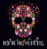 Vektorillustration av en ornately dekorerad dag av den Död Diameter de los Muertos skallen eller calavera royaltyfri illustrationer