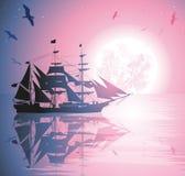 Vektorillustration av en piratkopieraship Royaltyfri Foto