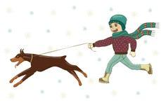 Vektorillustration av en pojke som går med en hundDoberman på gatan i vinter I hatt i halsduk omslag, jeans, kängor, tumvanten royaltyfri illustrationer