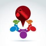Vektorillustration av en röd anförandebubbla och provrör Arkivfoton
