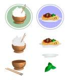 Vektorillustration av en risbunke, pinne och pasta stock illustrationer