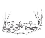 Vektorillustration av en romantisk tabell för två vektor illustrationer