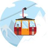 Vektorillustration av en skidliftkabelbil för vintern Royaltyfri Fotografi