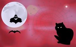 Vektorillustration av en spöke och ett slagträflyg omkring, väntande på allhelgonaaftonferie för svart katt Arkivbilder