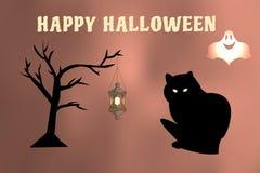 Vektorillustration av en spöke och ett slagträflyg omkring, väntande på allhelgonaaftonferie för svart katt Royaltyfri Bild