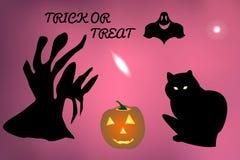 Vektorillustration av en spöke och ett slagträflyg omkring, väntande på allhelgonaaftonferie för svart katt Arkivfoton