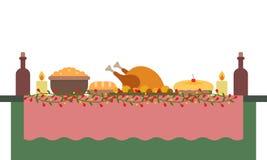 Vektorillustration av en stor banketttabell med drinkar och foods stock illustrationer