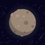 Vektorillustration av en stor glödande måne med krater och dalar, stjärnor, meteoriter, kamet i utrymme på dar Royaltyfri Bild