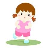 Vektorillustration av en sund lycklig flickaspring, tecknad film Arkivfoto