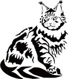 Vektorillustration av en svart katt på en vit bakgrund Arkivfoton