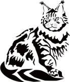 Vektorillustration av en svart katt på en vit bakgrund royaltyfri illustrationer