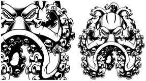 Vektorillustration av en svartvit bl?ckfisk stock illustrationer