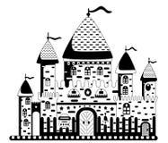 Vektorillustration av en tecknad filmslott Arkivfoton