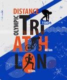Vektorillustration av en triathlon Arkivbild