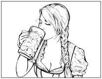Vektorillustration av en ung flicka som rymmer ett exponeringsglas av öl i hand och en läppjasmutt royaltyfri illustrationer