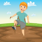 Vektorillustration av en unge som spelar i gyttjan Royaltyfri Foto
