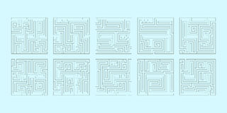 Vektorillustration av en uppsättning av tio fyrkantiga labyrinter Arkivbild