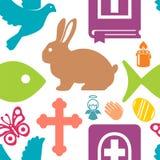 Vektorillustration av en upps?ttning av bildharen, ?ngel, kors, fj?ril, bibel, fisk, duva, stearinljus, b?n vektor illustrationer