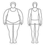 Vektorillustration av en viktförlust för man före och efter Konturer för manlig kropp Royaltyfria Bilder