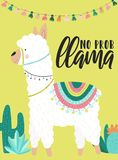 Vektorillustration av en vit alpaca i kläder med nationella söder - amerikanska bevekelsegrunder, garneringar och kakturs med en  royaltyfri illustrationer
