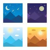 Vektorillustration av ett berglandskap i morgonen, afton, berg, berg, natt, berg i Royaltyfri Bild