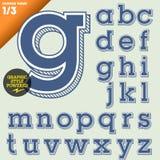 Vektorillustration av ett gammalmodigt alfabet Arkivfoto
